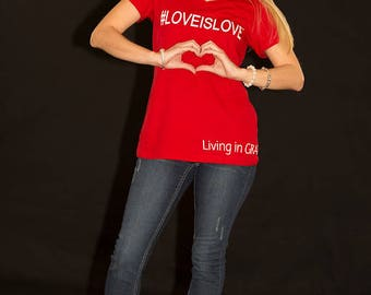 Small red, v neck,  LOVEISLOVE cotton tee. Equality shirt, Gay Pride, Pride March shirt, Love tee, inspirational tee, positive vibes, Gay