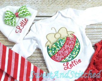 Monogrammed Girls Christmas Shirt - baby girl christmas Shirt - Christmas Ornament Shirt personalized, Personalized Christmas outfit