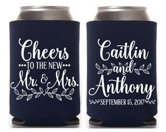 Wedding Can Coolers, Bridal Wedding Favors, Guest Wedding Favor, Rustic Wedding, Cheers to the New Mr & Mrs, Beer Holder, Event Can Coolers