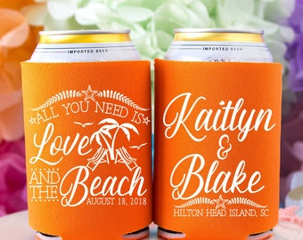 Beach Wedding Gift, Personalized Can Coolers, Summer Wedding Favors, Destination Wedding, Beer Holder, Beverage Insulator, Favors for Guests