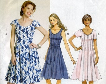Fitted & flared short sleeve or sleeveless dress pattern, Butterick B5745, Sizes 8, 10, 12, 14, 16