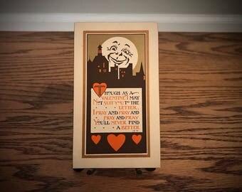 Vintage Happy Valentine's Day Post Card 1912 Antique Valentine Man in the Moon Hearts City Landscape Love Poem Poetry Monogram Jim Night