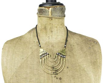 Black Bead and Brass Bib Necklace, Brass Crescent Necklace, Long Black Seed Bead Necklace, Long Black Bead Necklace, Long Black Necklace
