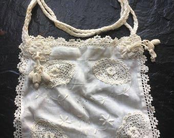 Antique White Linen Embroidery & Irish Crochet Bag // flower tassels, drawstring purse, reticule > bridal, wedding, beautiful