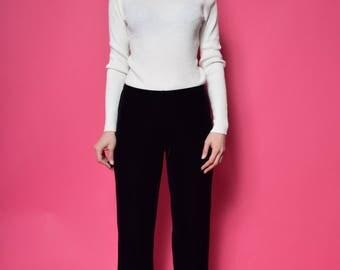 Vintage 90's Ribbed Turtleneck Top / White Metallic Sweater - Size Small