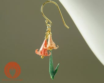 Origami jewelry, Origami Lily Earrings, peach color lilies
