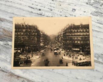 Vintage Paris Postcard . Paris, Avenue de l'Opera . French Vintage Postcard . Topographic Postcard France. Travel Postcards .