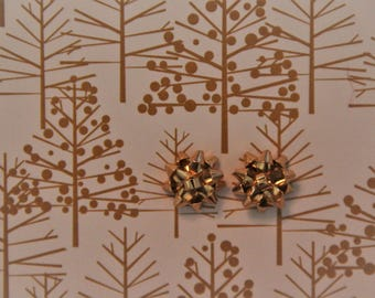 Gold Christmas Bow Stud Earrings!