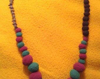 Necklace with fluffy balls & beads