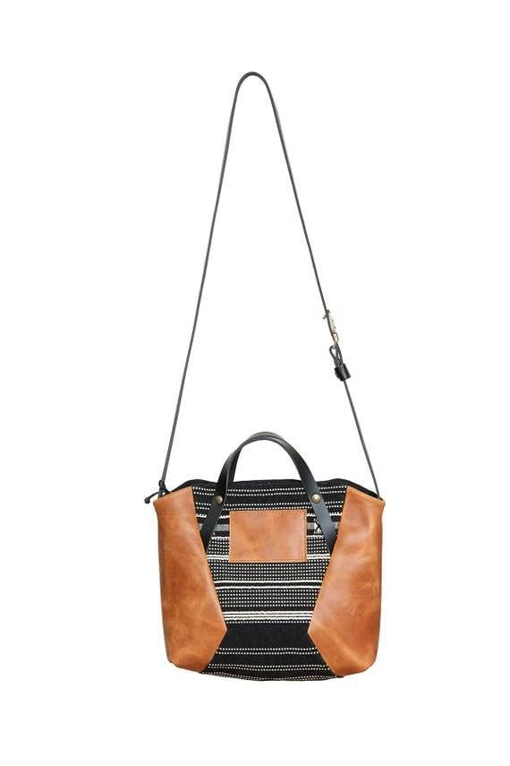 B-52 - leather bag, messenger bag, top handle bag, - tan brown