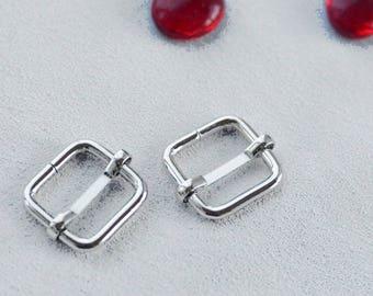 """4 Pieces Strap adjuster Strap slider /Messenger bag hardware slide buckle/ Nickel silver /Inner Size 20mm (0.8"""")"""