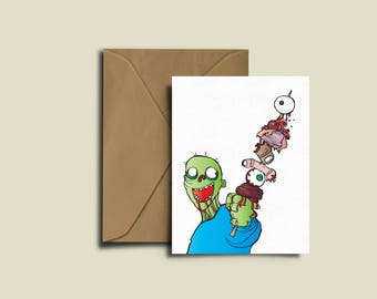 Zombie Meat Kebab Birthday Congratulations Valentines Exam A6 greeting Card.