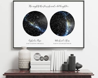 Custom Constellation Map 2 Sky Unframed Poster, Under This Sky Poster, New Baby Gift, Night Sky Print, Mother's Day Gift