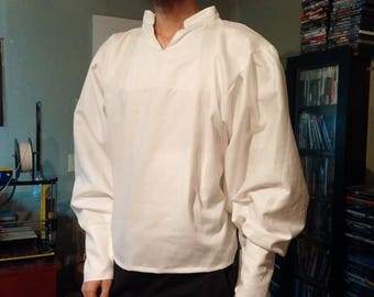 Custom Mens Simple Victorian Steampunk Renaissance Pirate Shirt with button Sleeves