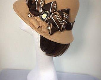 Beige hat 1920s Hat, cream hat, striped hat, Victorian accessory, Cloche Hat, bowler hat