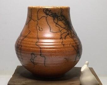Raku/HorsehairRaku/Handmade/Ceramic/Vase/OOAK/HomeDecor