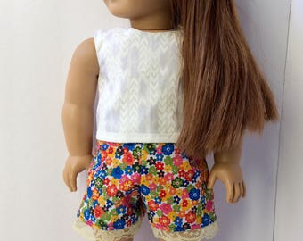 High waisted flower shorts. Lace bottom shorts. Doll shorts. American girl shorts.