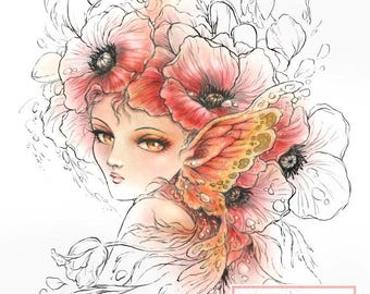 Digital Stamp Instant Download - Crimson Blossoms - Mysterious Poppy Fairy - digistamp - Fantasy Line Art for Cards & Crafts