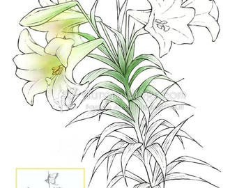 Digital Stamp Instant Download - Easter Lily Stem - digistamp - Blooms Buds Leaves - Floral Line Art for Cards & Crafts by Mitzi Sato-Wiuff
