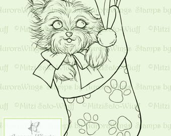 Digital Stamp - Yorkie in a Stocking - Instant Download - digistamp - Holiday Animal Line Art for Cards & Crafts by Mitzi Sato-Wiuff