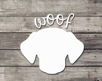 "Dog ""Woof"" Decal 
