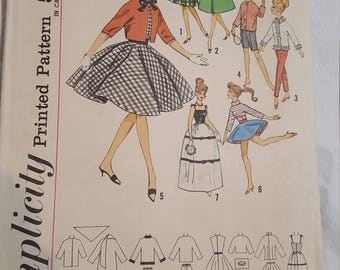 Vintage Doll Pattern Clothes Simplicity 4700 Barbie Sized Doll, 1960s