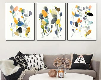 Set of 3 flower prints. Watercolour flowers. Flower artwork. Floral print. Set of three wall art. Set of 3 art prints. Watercolor art print.