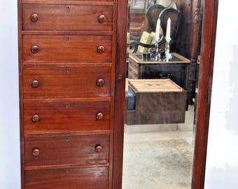 Vintage Japanese Style 1920's Tansu Cabinet Mahogany Wardrobe Closet 9 drawers, Safe insured nationwide shipping available call for rates