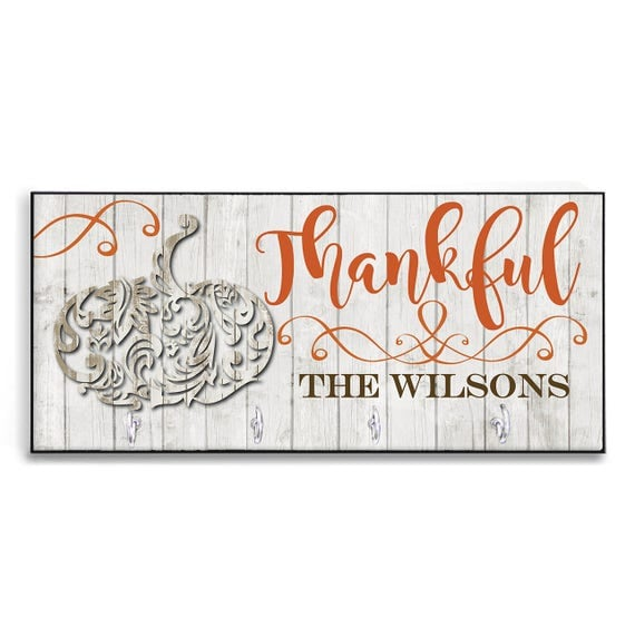 Fall Decor Personalized Thankful Wood-Look Key Holder Key Rack Hanger Custom Rustic Fall Decor Pumpkin Decor Autumn Home Fall Decorations