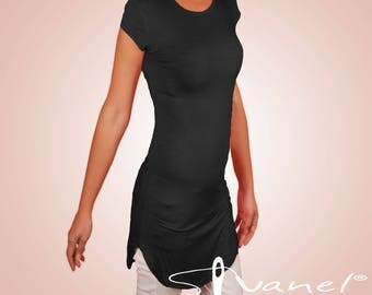 Shortsleeves tunic/Casual tunic/Fitted tunic/Black tunic/Round neck tunic/Top tunic/Bodycon tunic/Summer tunic/ IVANEL/28 colors,S,M,L,XXL
