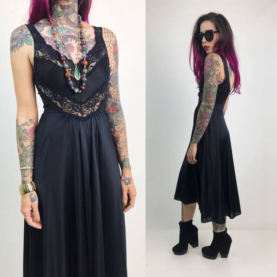 Vintage Black Lace Cut Out Slip Dress Small - Black Lightweight Midi Slip Sexy Witchy Dress - Black Lace Cut Out Lace Romantic Goth Lingerie