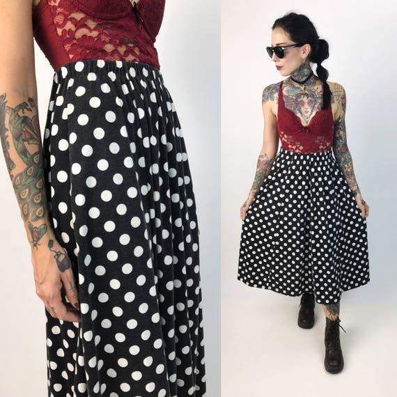 Vintage Polka Dot High Waist Midi Skirt Small Elastic Waist - VTG Black & White Polka Dot Cotton Midi Skirt - All Over Print 80s/90s VTG