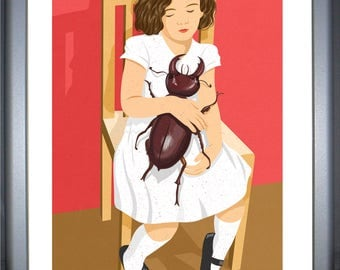 Beetle girl, signed limited edition print