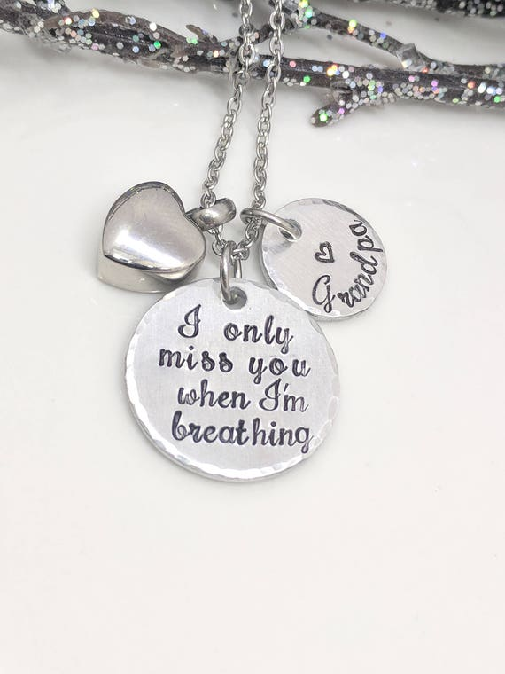 I Only Miss You When I'm Breathing-Urn Necklace-Cremation Jewelry-Ashes Necklace-Locket for Ashes-Memorial Jewelry-Loss Gift-Heart Urn Charm