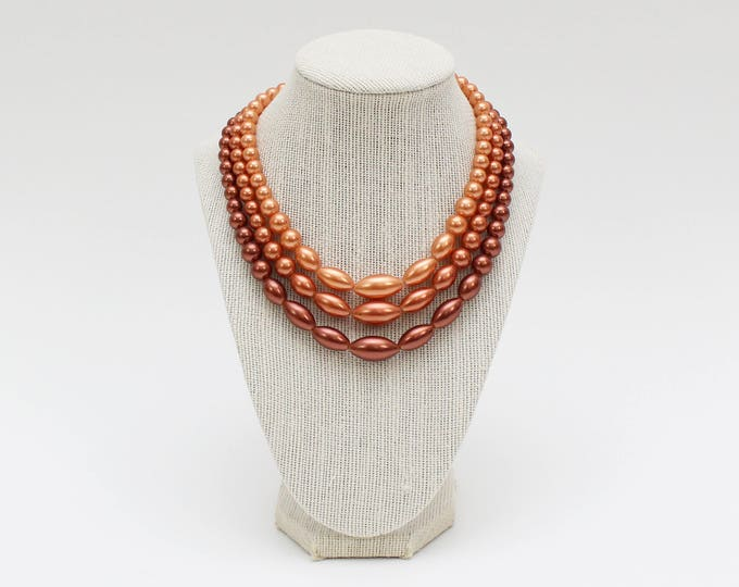 Vintage 1960s Triple Strand Ombre Beaded Necklace