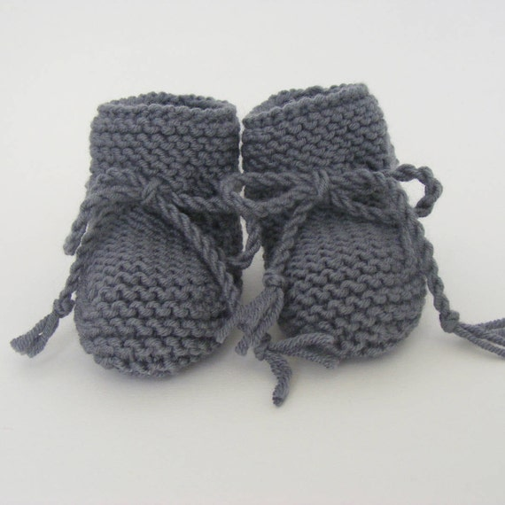 Hand Knitted Baby Booties in Charcoal Grey