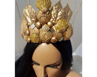 Mermaid Crown, Mermaid Headpiece, Mermaid Tiara, Mermaid Crown Adult, Mermaid Crown Child, Mermaid, Dark Mermaid, Mermaid Costume, Tail