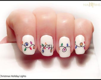 Christmas swirl nail decals holiday tree nail design nail art christmas lights nail decal holiday joy noel nail art by nailthins prinsesfo Gallery