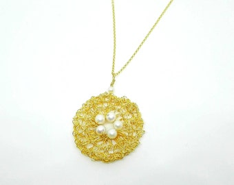 HANDMADE PENDANT PEARL Knitted Goldplated