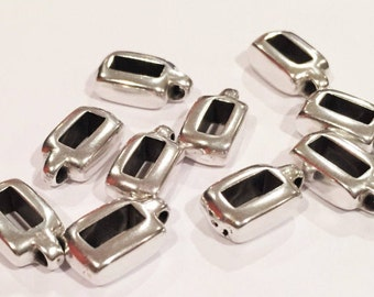 10 Flat Leather Slider, Small Bail, Charm Holders, 6mm Flat Leather, Bail, Silver Zamak finding