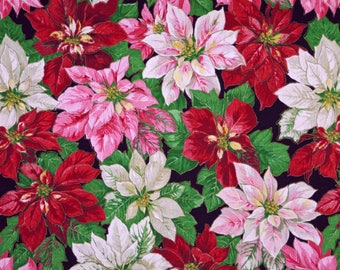 1/2 YARD, COTTON PRINT, Pink Red White Poinsettias, Christmas Quilting Fabric, Concord, Joan Kessler, Green Leaves, Medium Weight, B12