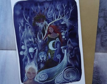 The Silver Wheel A5 Art Card, Greeting Card, Arianrhod, Goddess Art, Welsh Goddess, Deer, Spiritual, Healing, Nature, Forest, Labyrinth