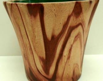Rocky Mountain Pottery Small Pot, ROMCO Faux Wood Grain Swirl Glaze Succulent Planter