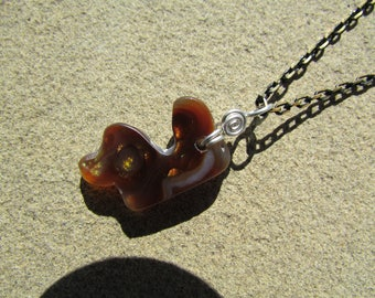 Fire Agate Stone Pendant - Mexican Fire Agate with Sterling Silver Wire Wrap on 18 Inch Chain - Fire Agate Necklace - Rocks and Minerals