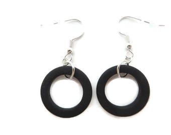 Black Hoop Earring, Black Beach Glass Hoops, Black Earring, Black Circle Earrings, Black Sea Glass Hoops, Black Dangle Earring, Recycled