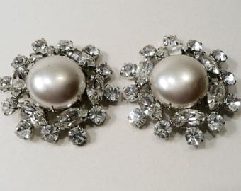 Two Vintage Faux Pearl And Clear Prong Set Rhinestone Buttons