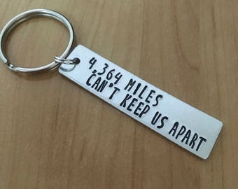 Miles Can't Keep Us Apart - Long Distance Relationship - Couples Keychains - Best Friend gifts - customizable - aluminium - army wife