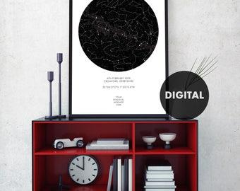 Custom Star Map, Digital Star Map, Personalized Star Map, Custom Night Sky Print, Custom Sky Map, Custom Star Sky, Constellation Print