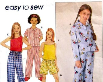 Simplicity 8929, Girls' Plus Size Pajamas & Tank Top,  Pullover Top and Shorts,  Plus Sizes 7,8,10,12