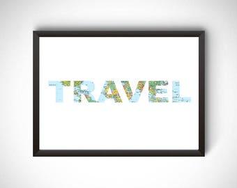 Printable travel art, travel printable, travel poster, printable map, travel wall art, travel decor, travel lover, gift for traveler, travel